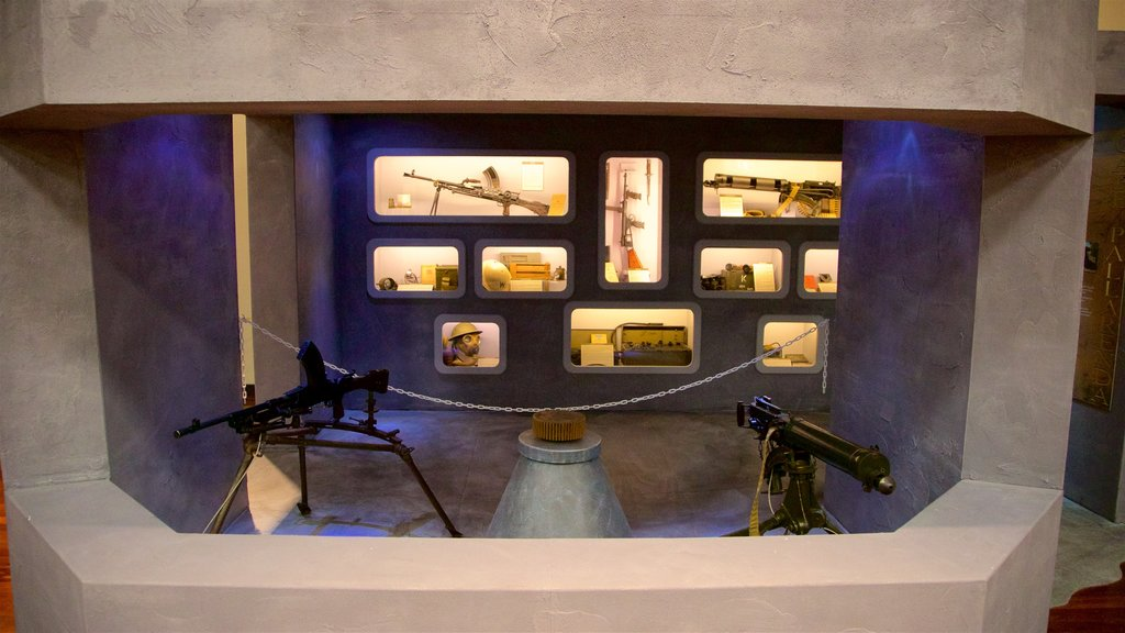 Army Museum North Queensland showing interior views and military items