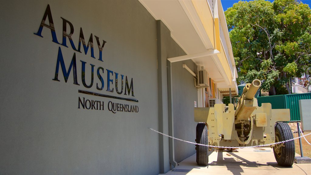 Army Museum North Queensland showing military items, signage and heritage elements