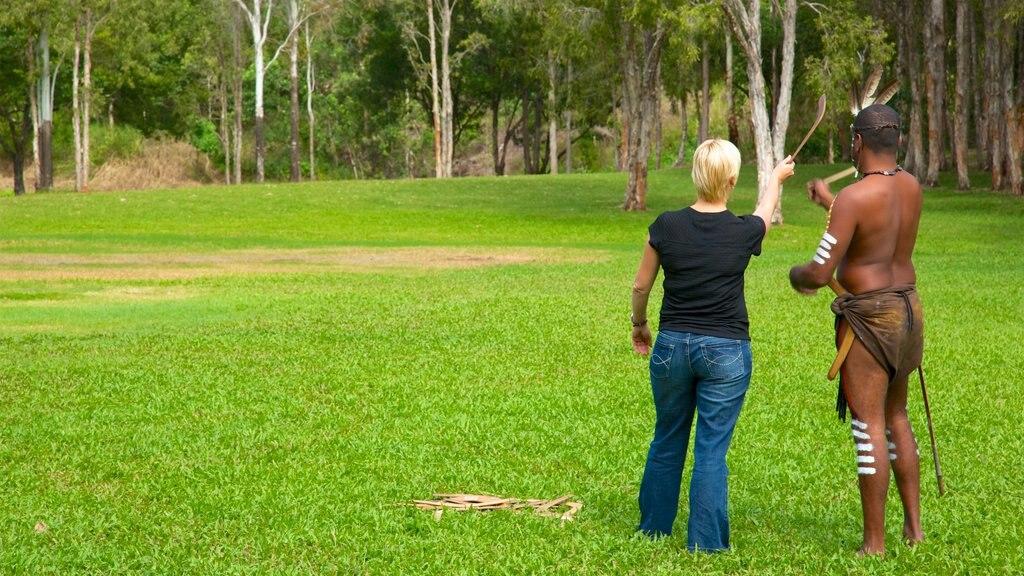 Tropical North Queensland mostrando escenas tranquilas y cultura indígena y también un hombre