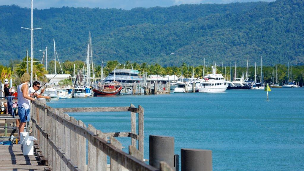 Tropical North Queensland ofreciendo pesca y una bahía o puerto y también un hombre