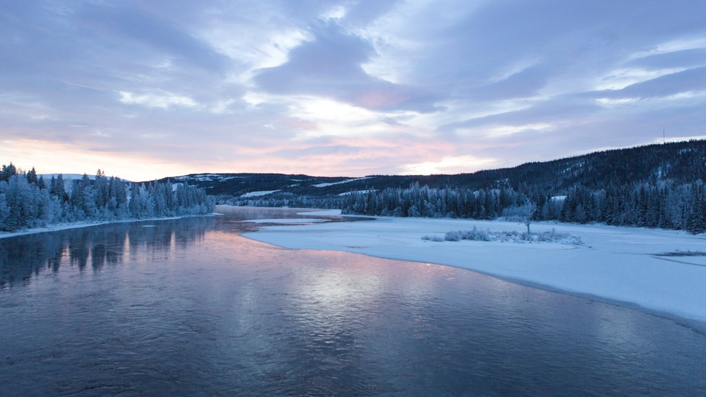 Are featuring snow, a river or creek and a sunset