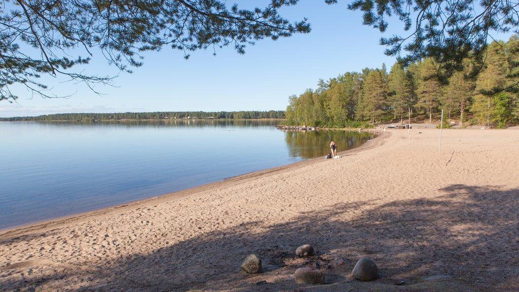 Lulea ofreciendo un lago o abrevadero y una playa de arena