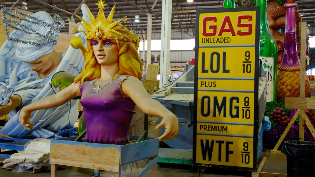 Mardi Gras World which includes art and interior views