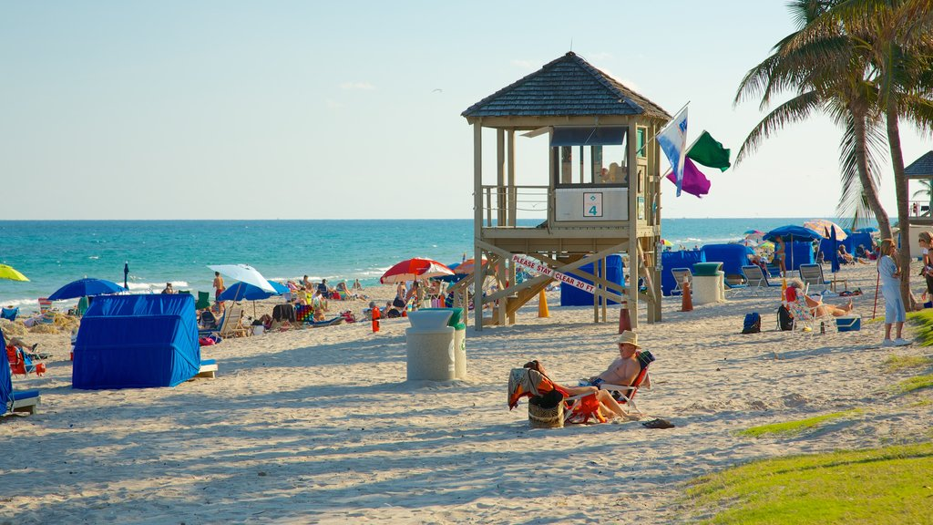 Deerfield Beach Pier which includes landscape views, tropical scenes and a sandy beach