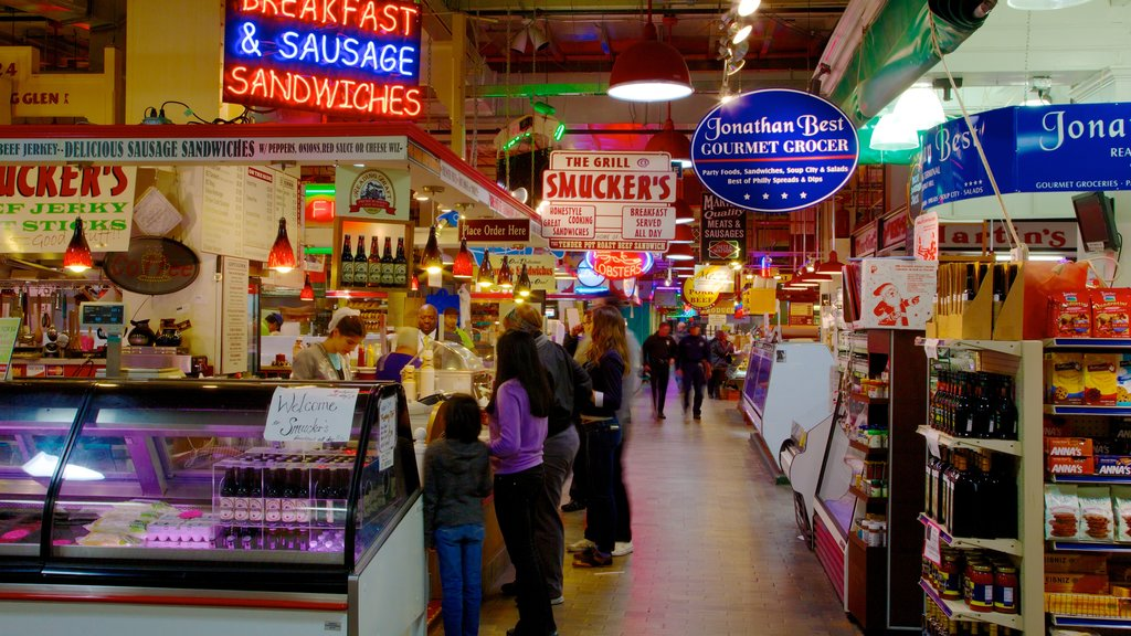 Reading Terminal Market featuring food, markets and interior views