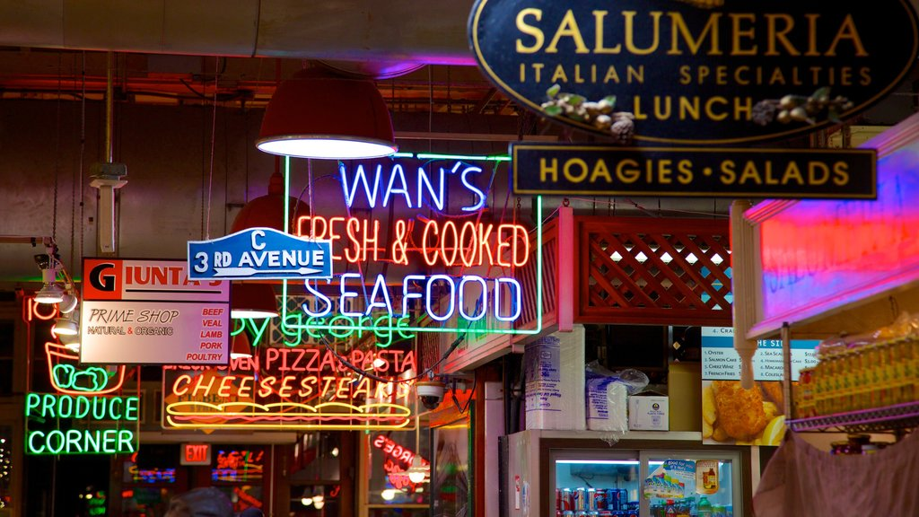 Reading Terminal Market which includes markets, street scenes and signage
