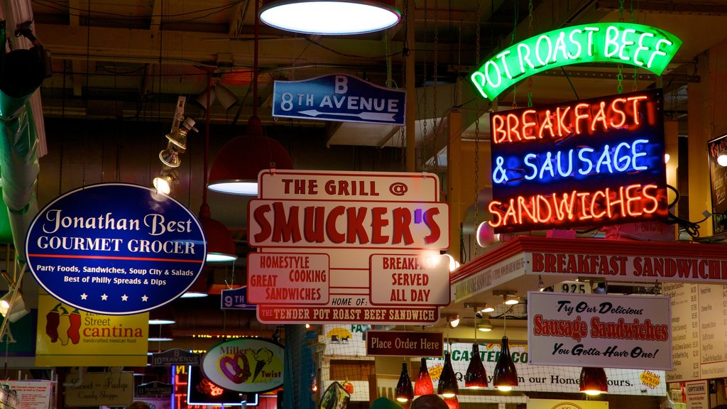 Reading Terminal Market featuring a city, interior views and night scenes