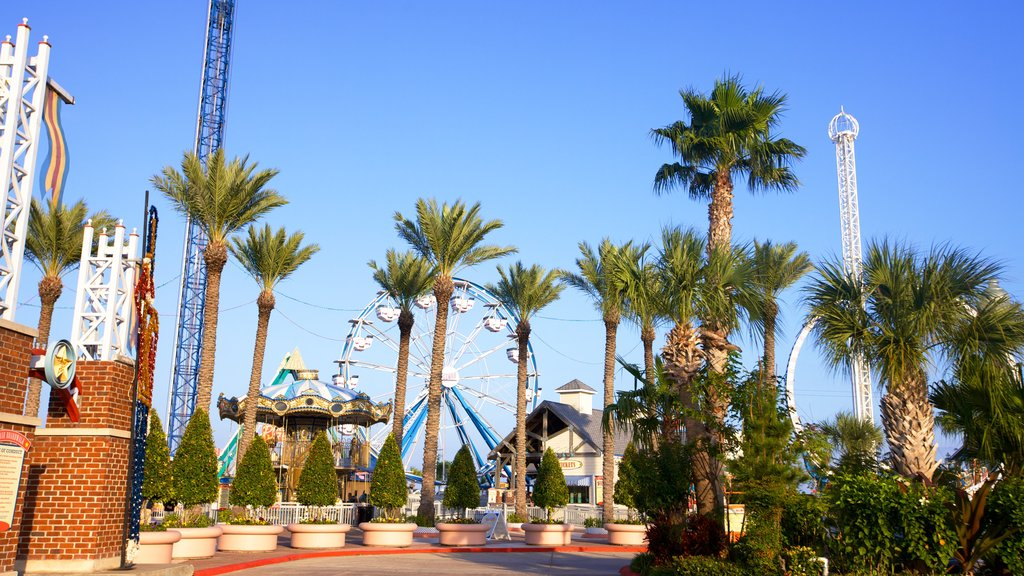 Kemah Boardwalk which includes rides, a garden and tropical scenes