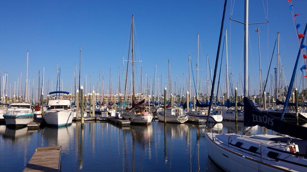 Kemah Boardwalk featuring a bay or harbor, sailing and a marina