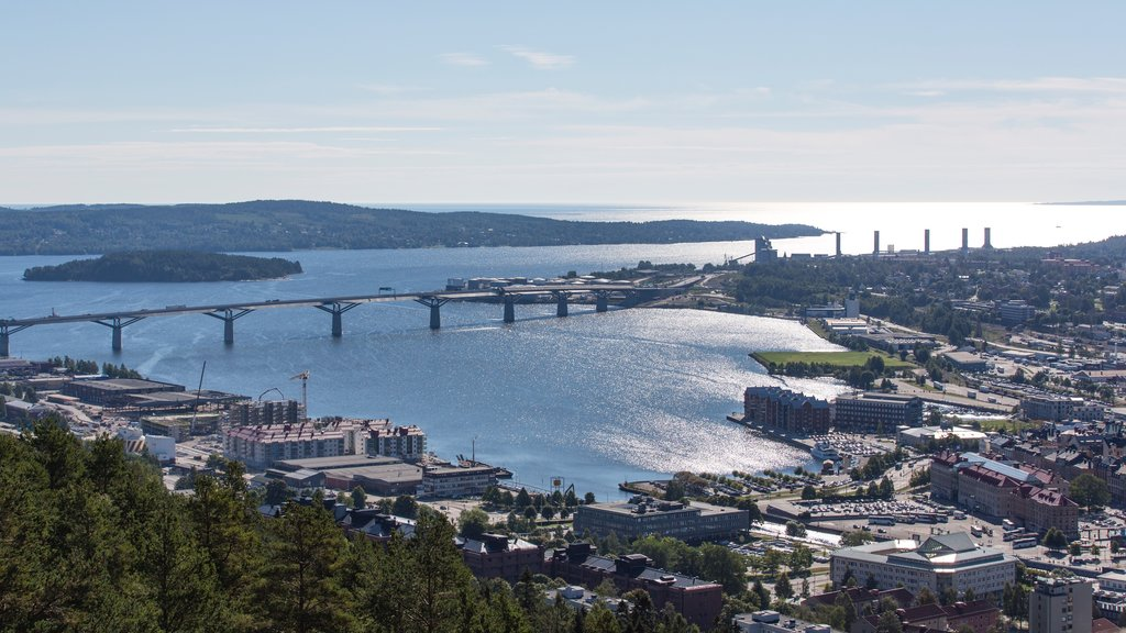 Sundsvall featuring a bay or harbor, a city and a bridge