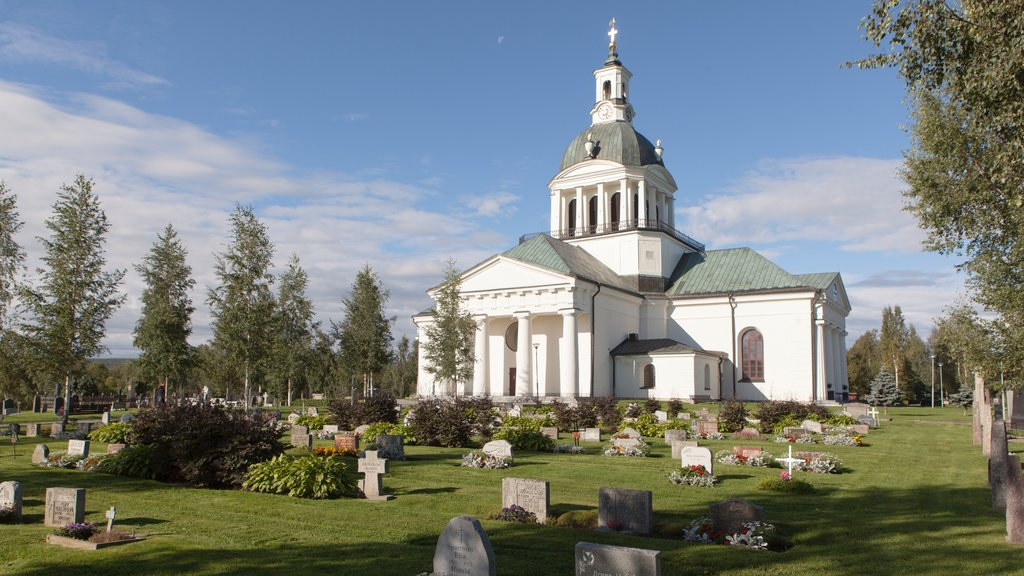 Skelleftea showing a church or cathedral and a cemetery