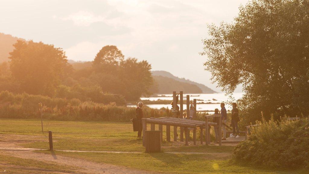 Bastad mostrando un parque y una puesta de sol y también un pequeño grupo de personas