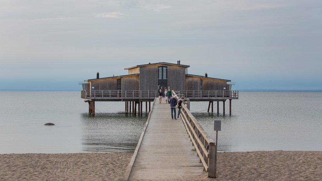 Bastad mostrando una playa de arena y vistas generales de la costa