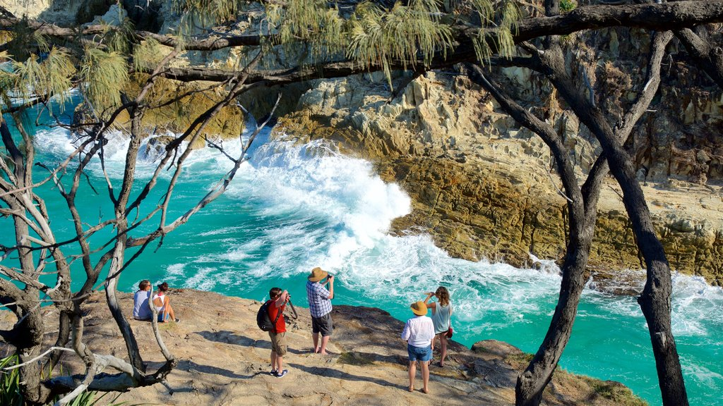 North Stradbroke Island showing surf and rugged coastline as well as a small group of people