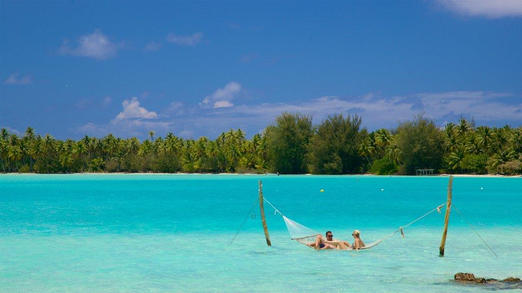 Islas de la Sociedad ofreciendo escenas tropicales y vistas generales de la costa y también una pareja