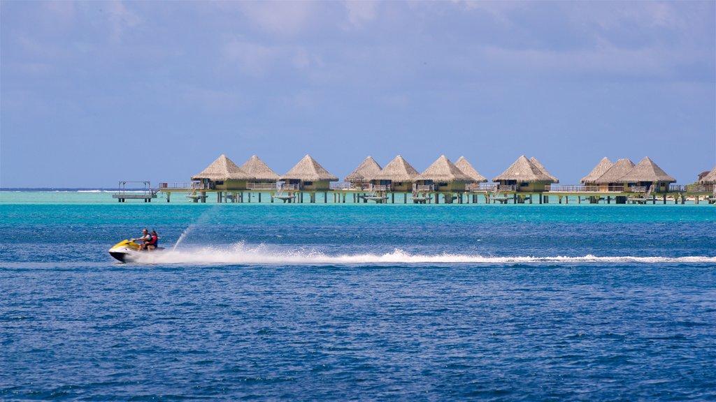 Bora Bora which includes general coastal views, tropical scenes and jet skiing