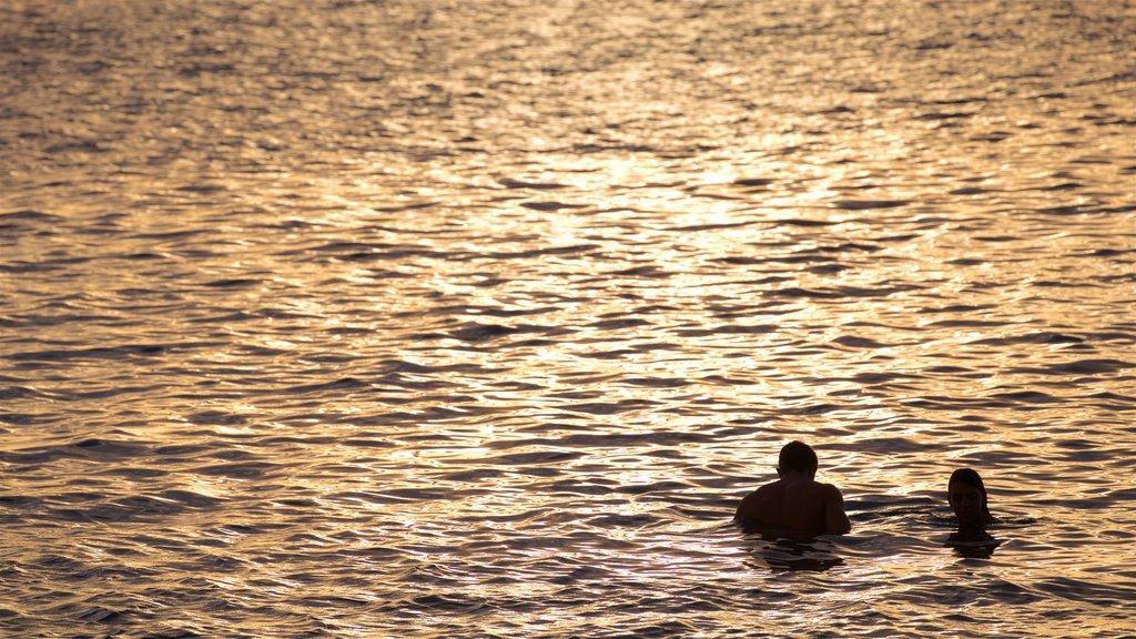 Tahití que incluye una puesta de sol, natación y vistas generales de la costa
