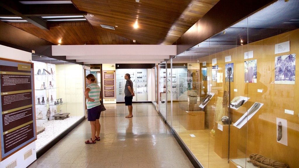 Museum of Tahiti showing interior views as well as a small group of people