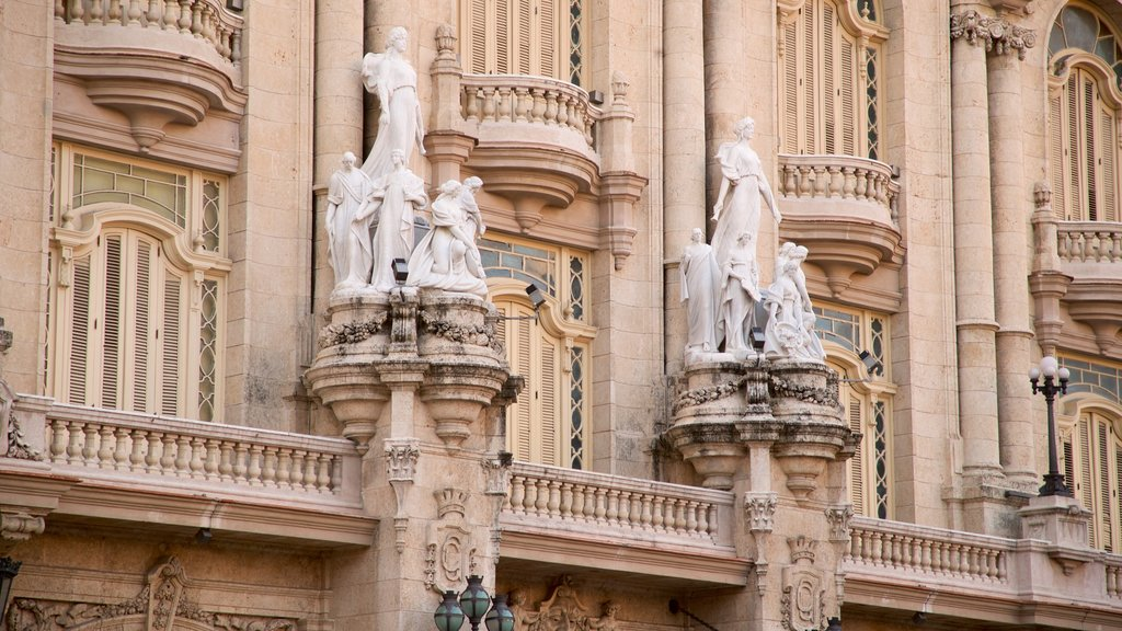 Great Theatre of Havana featuring a statue or sculpture and heritage elements
