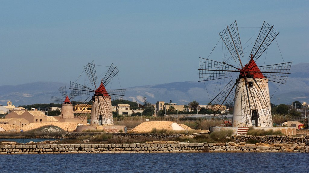 Marsala which includes a small town or village and a windmill