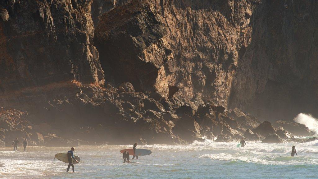 Tonel Beach showing rugged coastline, surf and general coastal views
