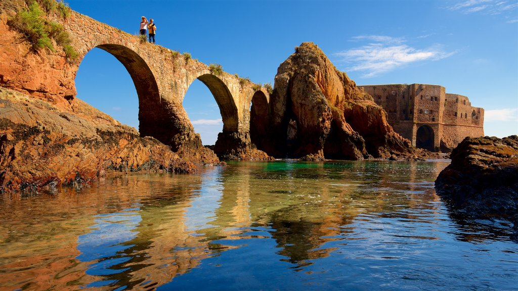 Berlenga Island showing a bridge, rocky coastline and heritage elements