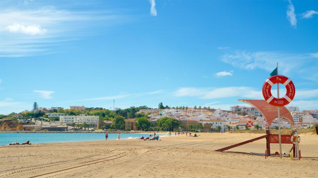 Meia Praia Beach showing general coastal views, a sandy beach and a coastal town