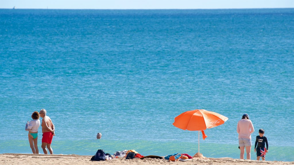 Meia Praia Beach featuring a sandy beach and general coastal views as well as a small group of people