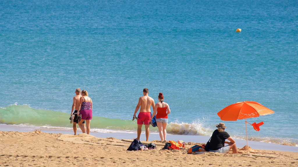 Meia Praia Beach which includes a beach and general coastal views as well as a small group of people