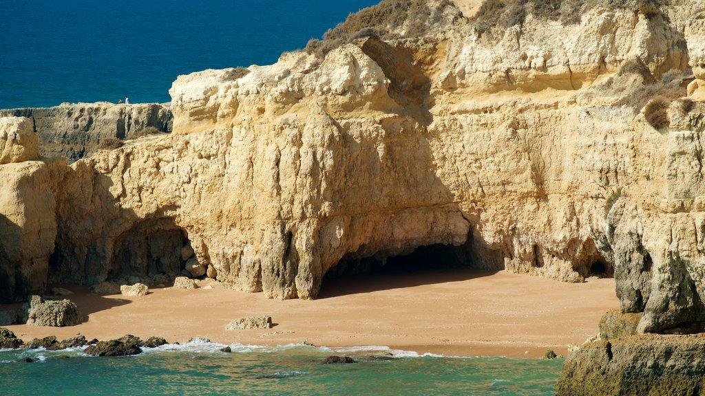 Coelha Beach showing a sandy beach, rugged coastline and general coastal views