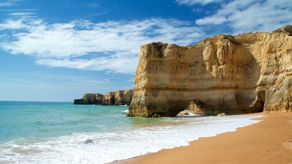 Coelha Beach which includes a beach, general coastal views and rocky coastline