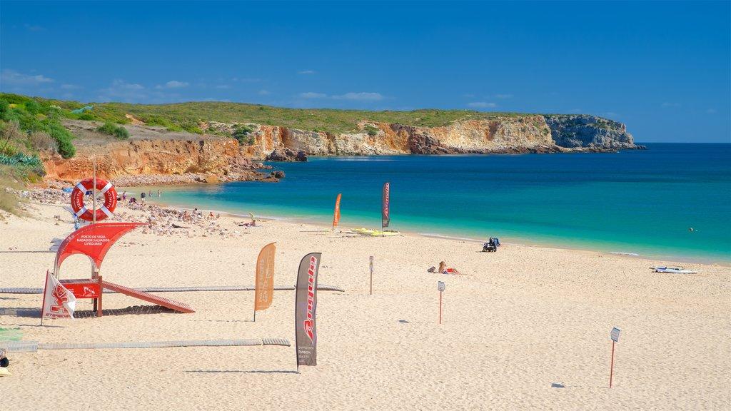 Martinhal Beach which includes a beach, general coastal views and rocky coastline