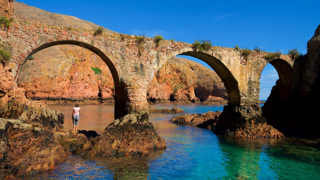 Berlenga Island showing general coastal views, heritage elements and rugged coastline