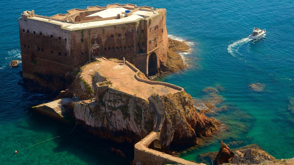Berlenga Island featuring a castle, general coastal views and boating