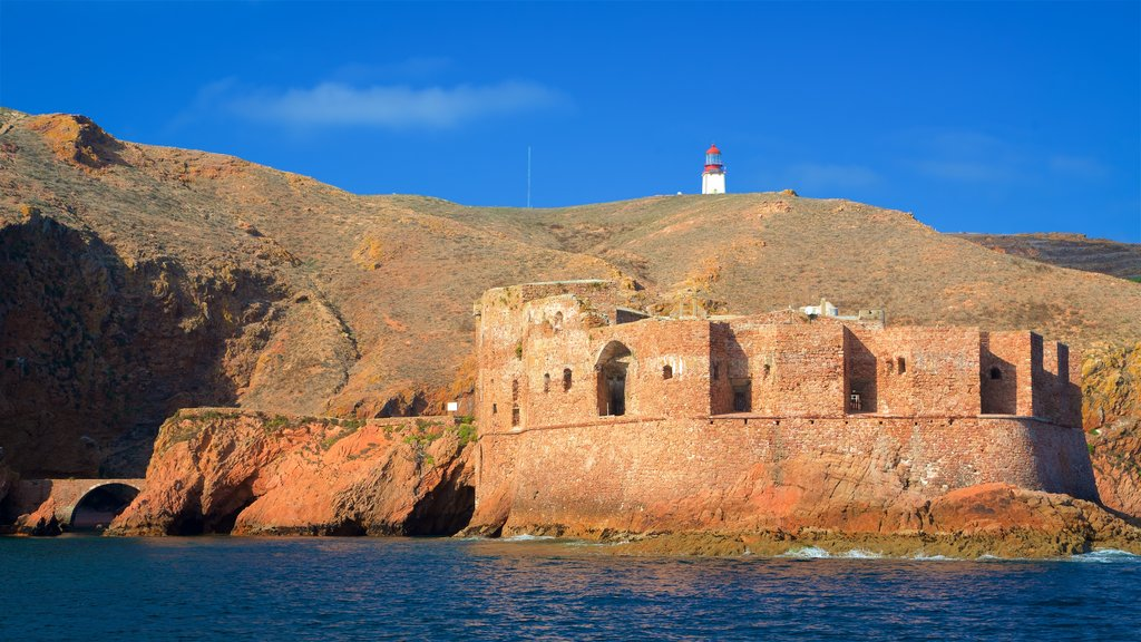 Berlenga Island showing general coastal views, a castle and heritage elements