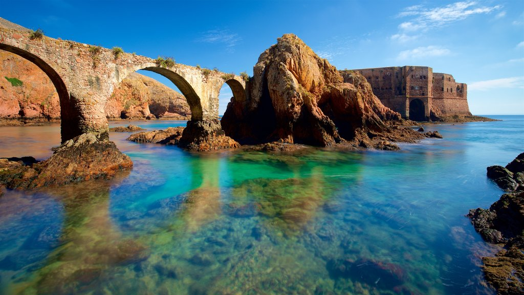 Berlenga Island which includes heritage elements, general coastal views and rocky coastline