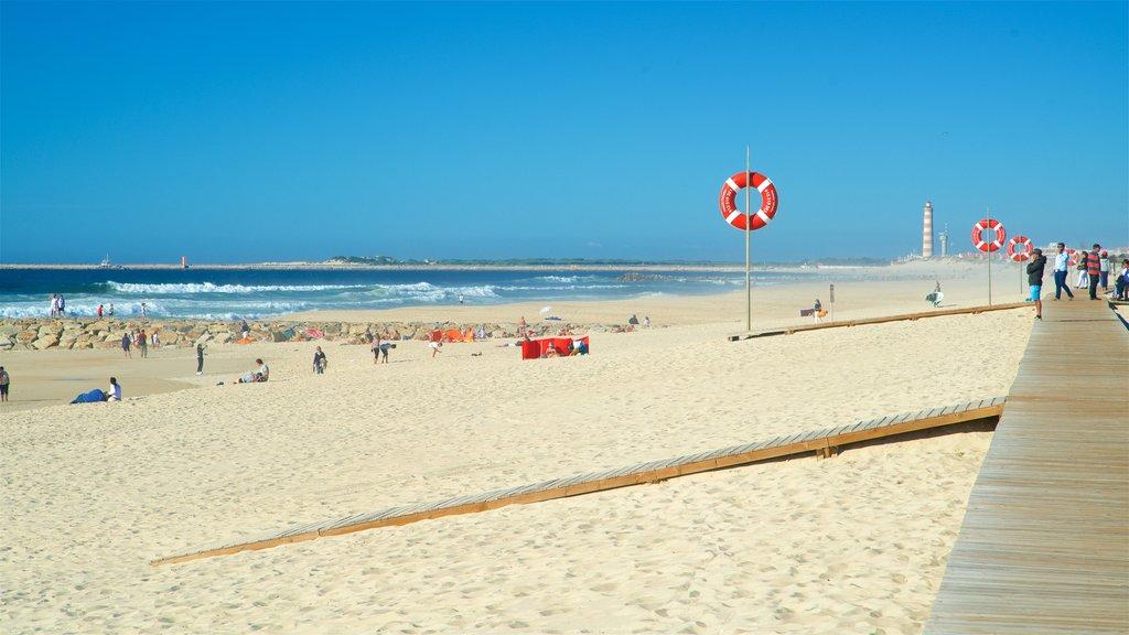 Praia da Costa Nova caracterizando uma praia de areia e paisagens litorâneas