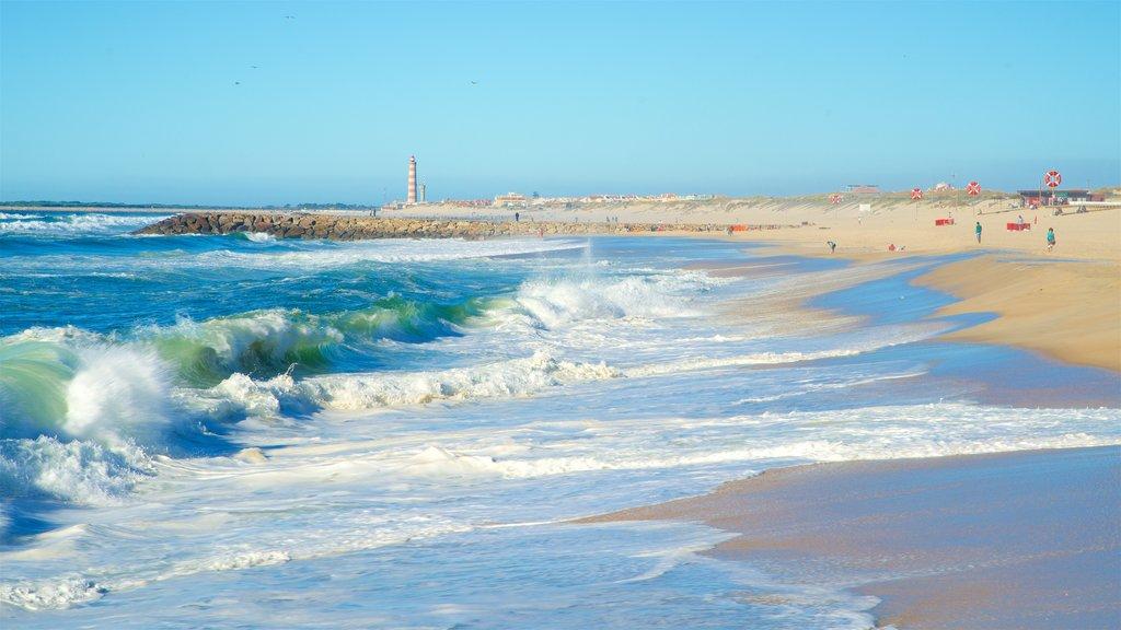 Praia da Costa Nova que inclui paisagens litorâneas, ondas e uma praia de areia