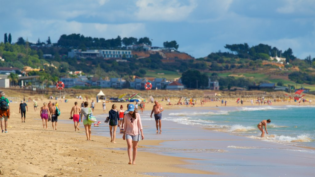 Meia Praia Beach showing general coastal views and a beach as well as a small group of people