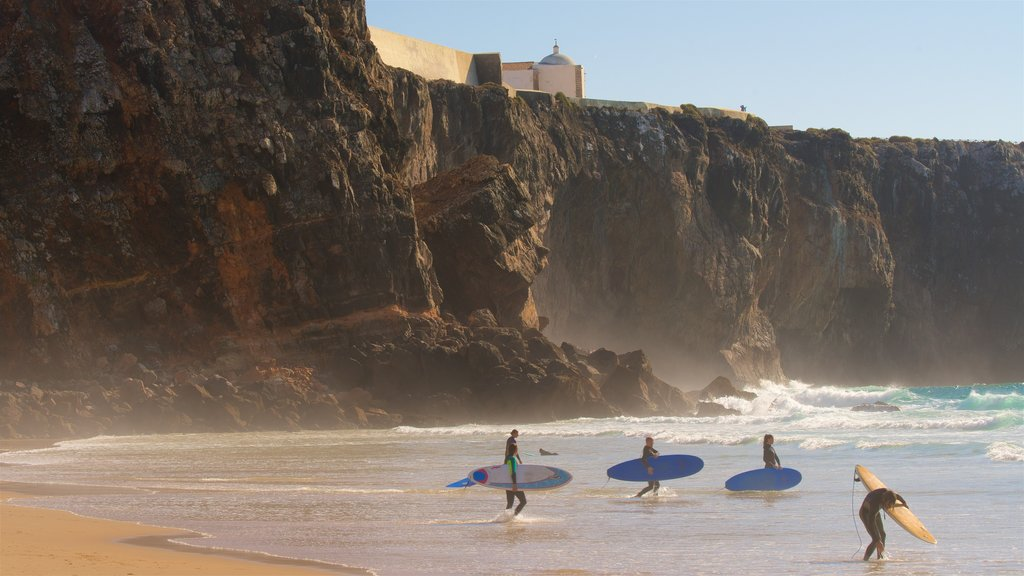 Tonel Beach featuring surfing, general coastal views and rugged coastline