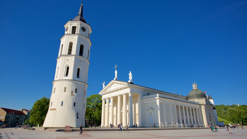 Vilnius Cathedral showing a square or plaza, a church or cathedral and heritage elements