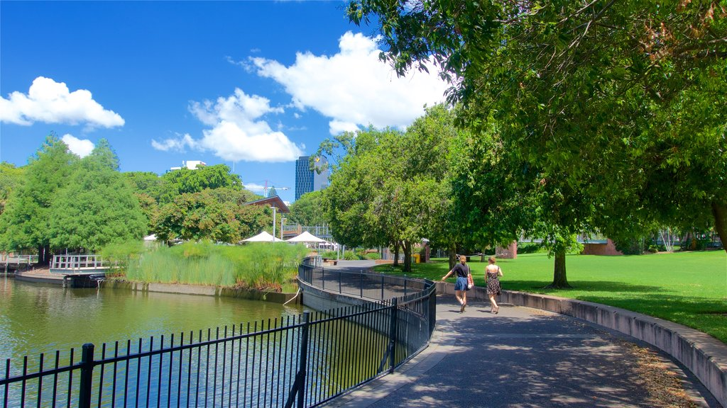 Roma Street Parkland featuring a lake or waterhole and a garden