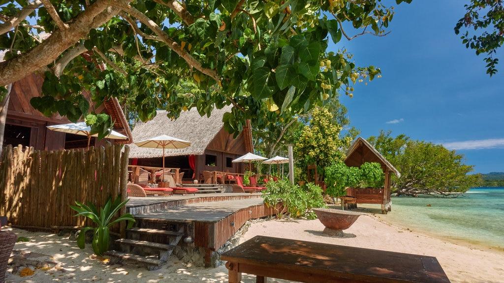 Isla Ratua mostrando escenas tropicales, vistas generales de la costa y una playa de arena
