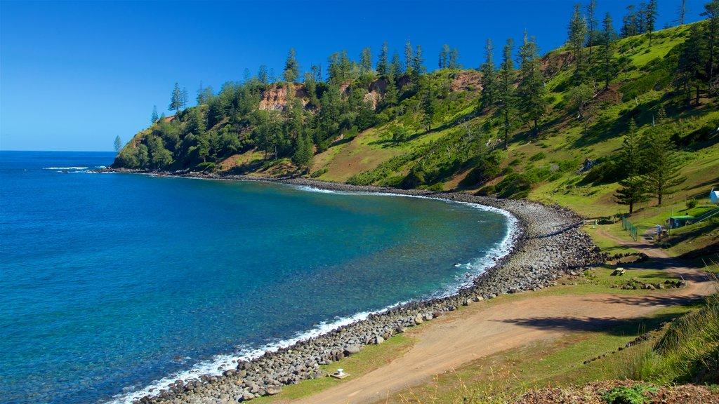 Norfolk Island which includes general coastal views, a pebble beach and rocky coastline
