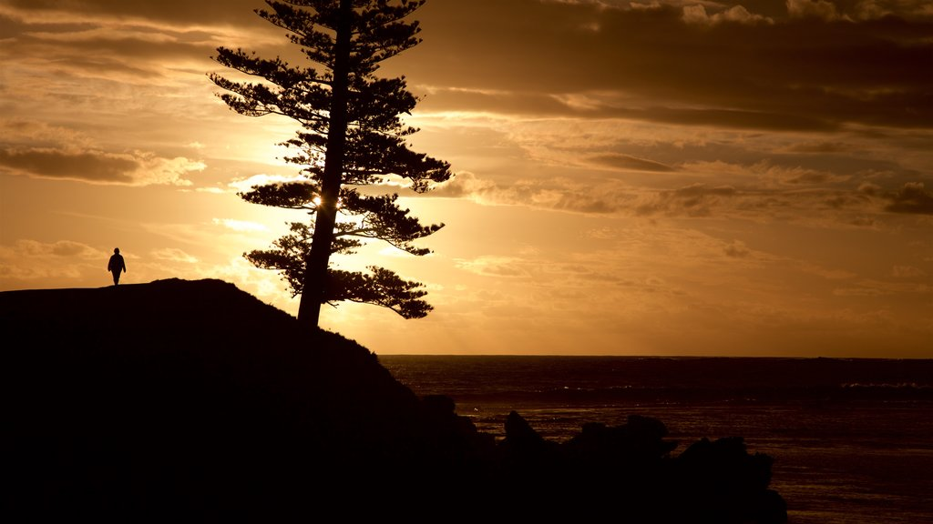 Norfolk Island which includes a sunset and general coastal views