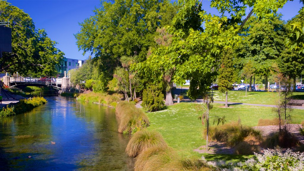Christchurch showing a river or creek and a garden