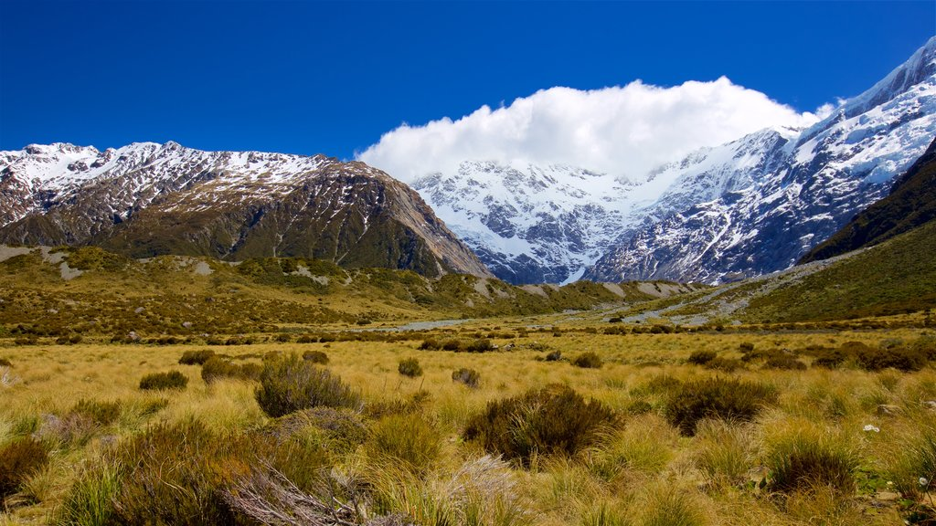 Mount Cook National Park which includes mountains, landscape views and tranquil scenes