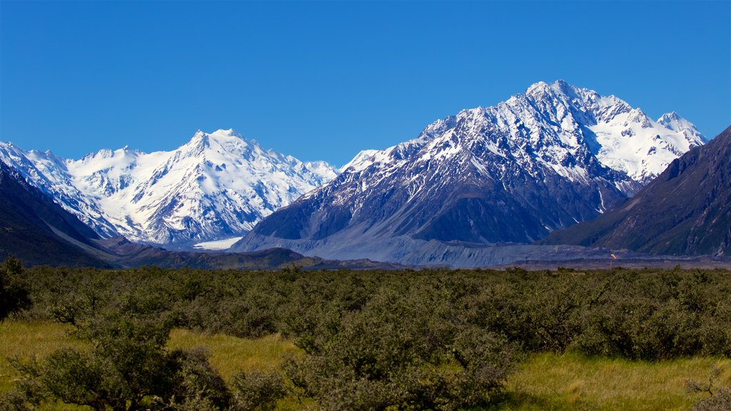 Mount Cook National Park featuring snow, tranquil scenes and mountains