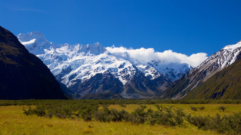 Mount Cook National Park showing landscape views, mountains and snow