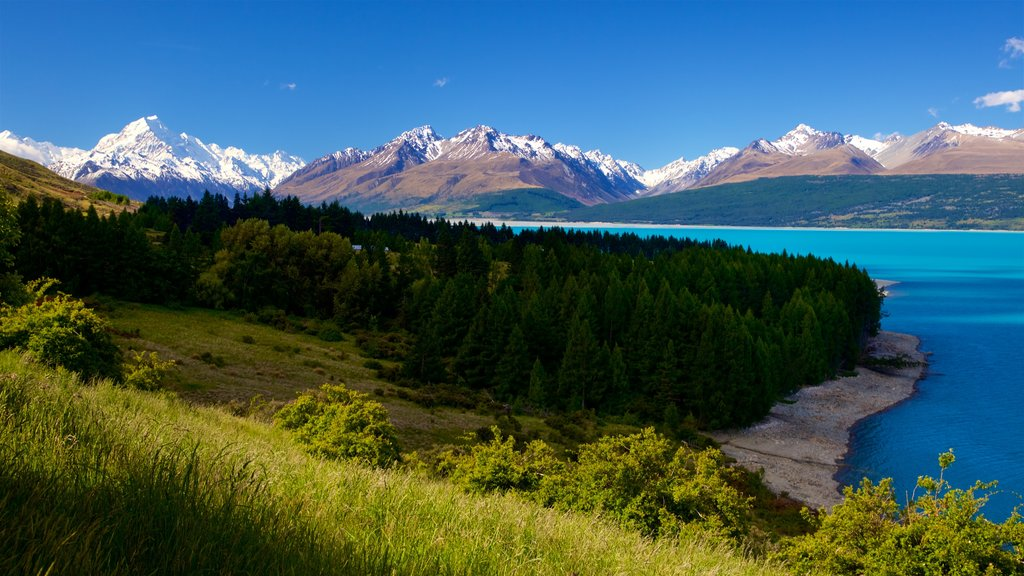Mount Cook National Park which includes tranquil scenes, mountains and a lake or waterhole